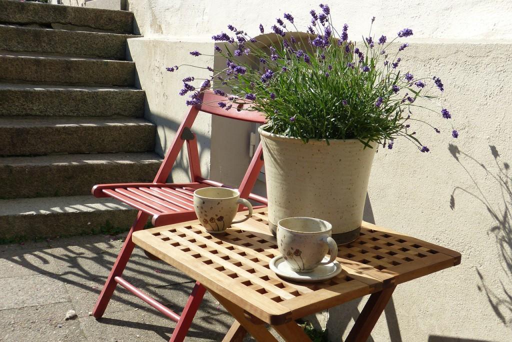 Pro vytvoření malebného zákoutí s vůní levandule postačí málo - květináč s rostlinkou levandule.