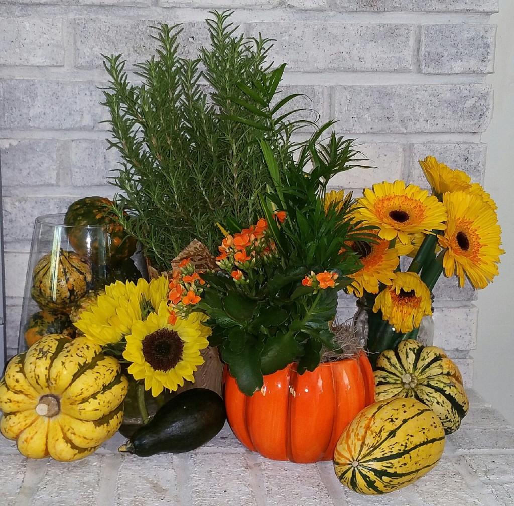 Podzimní aranžmá v interiéru doplní váza s řezanými květy gerber nebo slunečnic.